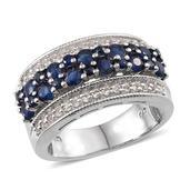 Kanchanaburi Blue Sapphire, White Topaz Platinum Over Sterling Silver Ring (Size 8.0) TGW 2.800 cts.