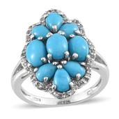 Arizona Sleeping Beauty Turquoise, White Topaz Platinum Over Sterling Silver Cluster Ring (Size 6.0) TGW 4.920 cts.