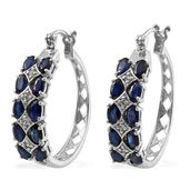 Kanchanaburi Blue Sapphire, White Zircon Platinum Over Sterling Silver Hoop Earrings TGW 5.92 cts.
