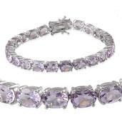 Rose De France Amethyst Platinum Over Sterling Silver Bracelet (7.75 In) TGW 24.000 cts.