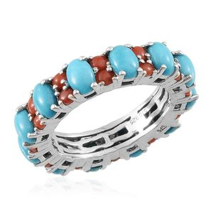 Arizona Sleeping Beauty Turquoise, Mediterranean Coral Platinum Over Sterling Silver Eternity Band Ring (Size 7.0) TGW 5.170 cts.