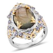 Malagasy Labradorite, Tanzanite 14K YG and Platinum Over Sterling Silver Ring (Size 6.0) TGW 10.400 cts.