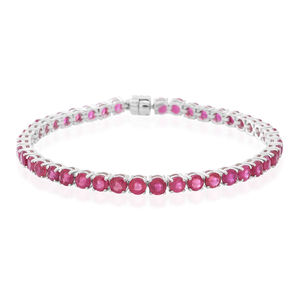 Niassa Ruby Sterling Silver Bracelet (7.50 In) TGW 14.510 cts.