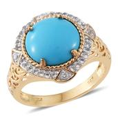 Arizona Sleeping Beauty Turquoise, White Topaz 14K YG Over Sterling Silver Ring (Size 8.0) TGW 4.96 cts.
