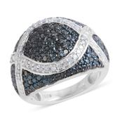 Blue Diamond (IR), Diamond Platinum Over Sterling Silver Ring (Size 8.5) TDiaWt 0.50 cts, TGW 0.500 cts.