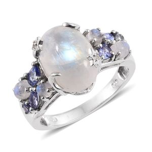 Sri Lankan Rainbow Moonstone, Tanzanite, White Topaz Platinum Over Sterling Silver Ring (Size 6.0) TGW 7.94 cts.