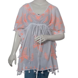 Coral Aari Embroidery 100% Cotton V- Neck Tunic Top With Tassel (One Size Fits All)
