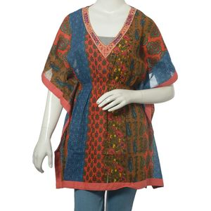 Brown and Blue 100% Cotton V- Neck Beach Cover up