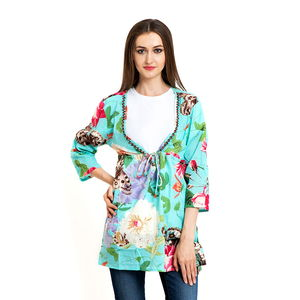 Seafoam 100% Cotton Floral V-Neck Beach Cover Up