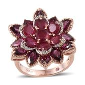 Stefy Multi Gemstone 14K RG Over Sterling Silver Ring (Size 5.0) TGW 12.385 cts.