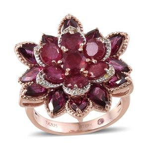 Stefy Multi Gemstone 14K RG Over Sterling Silver Ring (Size 6.0) TGW 12.385 cts.