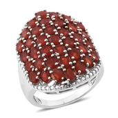 Jalisco Cherry Fire Opal, Diamond Platinum Over Sterling Silver Cluster Ring (Size 8.0) TDiaWt 0.01 cts, TGW 4.410 cts.