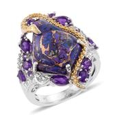 Mojave Purple Turquoise, Amethyst 14K YG and Platinum Over Sterling Silver Ring (Size 6.0) TGW 12.850 cts.