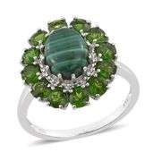 African Malachite, Russian Diopside Platinum Over Sterling Silver Flower Ring (Size 7.0) TGW 6.35 cts.