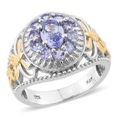 Tanzanite 14K YG and Platinum Over Sterling Silver Openwork Ring (Size 9.0) TGW 1.950 cts.