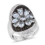 Espirito Santo Aquamarine, Thai Black Spinel, White Topaz Platinum Over Sterling Silver Ring (Size 6.0) TGW 4.53 cts.