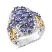 Tanzanite, White Zircon 14K YG and Platinum Over Sterling Silver Ring (Size 6.0) TGW 4.130 cts.