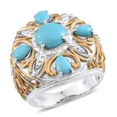 Tribal Collection of India Arizona Sleeping Beauty Turquoise 14K YG and Platinum Over Sterling Silver Openwork Ring (Size 9.0) TGW 3.50 cts.