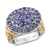 Tanzanite 14K YG and Platinum Over Sterling Silver Openwork Cluster Ring (Size 8.0) TGW 4.00 cts.