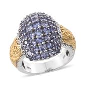 Tanzanite 14K YG and Platinum Over Sterling Silver Ring (Size 8.0) TGW 4.440 cts.