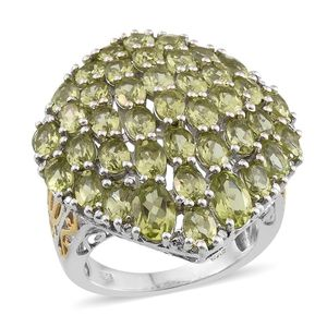 Hebei Peridot 14K YG and Platinum Over Sterling Silver Ring (Size 7.0) TGW 8.855 cts.