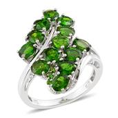 Russian Diopside Platinum Over Sterling Silver Ring (Size 5.0) TGW 5.410 cts.