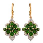 Russian Diopside, White Topaz 14K YG Over Sterling Silver Lever Back Earrings TGW 7.280 cts.