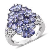 Tanzanite Platinum Over Sterling Silver Floral Ring (Size 7.0) TGW 5.720 cts.