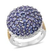 Tanzanite 14K YG and Platinum Over Sterling Silver Cluster Ring (Size 7.0) TGW 5.300 cts.