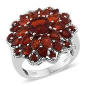 Jalisco Cherry Fire Opal Platinum Over Sterling Silver Floral Ring (Size 8.0) TGW 4.300 cts.