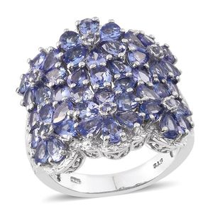 Tanzanite Platinum Over Sterling Silver Floral Cluster Ring (Size 7.0) TGW 6.530 cts.