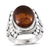 Artisan Crafted Baltic Amber Hand Crafted Sterling Silver Ring (Size 7.0)