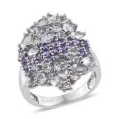 Jewel Studio by Prachi Espirito Santo Aquamarine, Tanzanite Platinum Over Sterling Silver Elongated Cluster Ring (Size 8.0) TGW 3.860 cts.