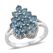 Teal Kyanite, White Topaz Platinum Over Sterling Silver Ring (Size 5.0) TGW 3.100 cts.