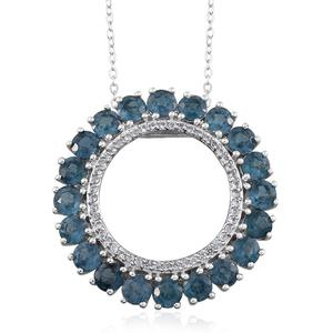 Teal Kyanite, White Topaz Platinum Over Sterling Silver Circle Pendant With Chain (20 in) TGW 6.08 Cts.