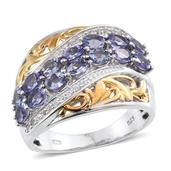 Tanzanite, White Topaz 14K YG and Platinum Over Sterling Silver Ring (Size 10.0) TGW 2.700 cts.