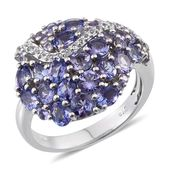 Tanzanite, White Topaz Platinum Over Sterling Silver Ring (Size 8.0) TGW 4.01 cts.
