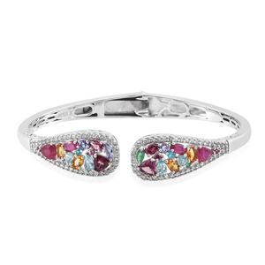 Multi Gemstone Platinum Over Sterling Silver Open Cuff Bangle TGW 6.760 cts.