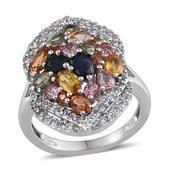 Multi Sapphire Platinum Over Sterling Silver Ring (Size 8.0) TGW 4.650 cts.