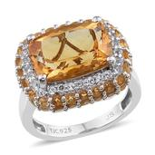 Brazilian Citrine, White Topaz Platinum Over Sterling Silver Ring (Size 7.0) TGW 7.89 cts.