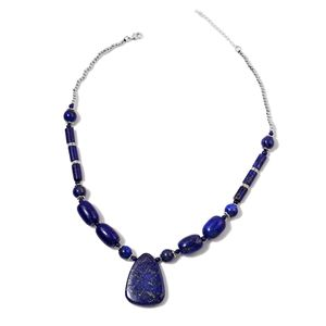 Lapis Lazuli, Austrian Crystal Silvertone Necklace (18-20 in) TGW 325.10 cts.