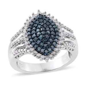 Blue Diamond (IR), Diamond Platinum Over Sterling Silver Ring (Size 10.0) TDiaWt 1.02 cts, TGW 1.02 cts.