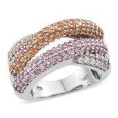 Pink and Yellow Sapphire, White Zircon Platinum Over Sterling Silver Openwork Ring (Size 5.0) TGW 2.740 cts.