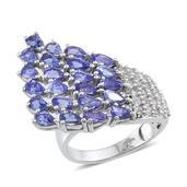 Tanzanite, White Topaz Platinum Over Sterling Silver Statement Ring (Size 8.0) TGW 7.070 cts.