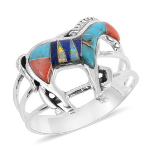 Santa Fe Style Multi Gemstone Sterling Silver Horse Ring (Size 9.0) TGW 0.75 cts.