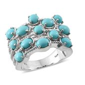 Sonoran Blue Turquoise Platinum Over Sterling Silver Ring (Size 7.0) TGW 5.08 cts.