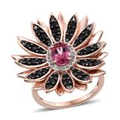 Pure Pink Mystic Topaz, Thai Black Spinel, White Topaz 14K RG Over Sterling Silver Ring (Size 7.0) TGW 2.18 cts.