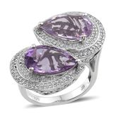 Amethyst, Rose De France Amethyst, White Topaz Platinum Over Sterling Silver Ring (Size 7.0) TGW 10.70 cts.