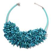 Blue Shell Silvertone Bib Necklace with Fabric Collar (18-22 in)