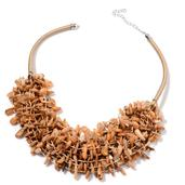 Brown Shell Silvertone Bib Necklace with Fabric Collar (18-22 in)